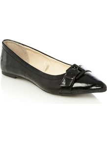 Black Efa Buckle Trimmed Patent Pumps - predominant colour: black; occasions: casual, evening, work; material: faux leather; heel height: flat; embellishment: buckles; toe: pointed toe; style: ballerinas / pumps; finish: patent; pattern: plain