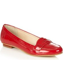 Red Patent Leather Loafer Trim Pumps - predominant colour: true red; occasions: casual, work; material: leather; heel height: flat; toe: round toe; style: loafers; finish: patent; pattern: plain