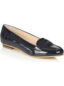 Navy Patent Leather Loafer Trim Pumps - predominant colour: black; occasions: casual, work; material: leather; heel height: flat; toe: round toe; style: loafers; finish: patent; pattern: plain