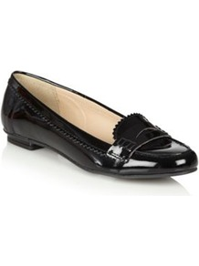 Black Patent Leather Loafer Trim Pumps - predominant colour: black; occasions: casual, work; material: leather; heel height: flat; toe: round toe; style: loafers; finish: patent; pattern: plain