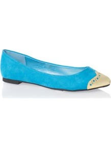 Blue Pointy Toecap Pumps - secondary colour: ivory; predominant colour: diva blue; occasions: casual, work; material: suede; heel height: flat; toe: pointed toe; style: ballerinas / pumps; trends: fluorescent; finish: plain; pattern: plain; embellishment: toe cap