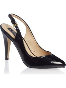 Black Enette High Heel Patent Shoes - predominant colour: black; occasions: casual, work, occasion; material: faux leather; heel height: high; heel: stiletto; toe: pointed toe; style: slingbacks; finish: patent; pattern: plain