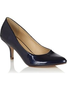 Navy Metallic Mid Height Heeled Court Shoes With Pointed Toes - predominant colour: black; occasions: evening, work, occasion; material: faux leather; heel height: mid; heel: stiletto; toe: pointed toe; style: courts; finish: patent; pattern: plain