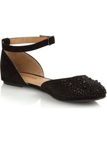 Black Quellette Studded Pumps - predominant colour: black; occasions: casual, evening, work, holiday; material: faux leather; heel height: flat; embellishment: studs; ankle detail: ankle strap; toe: round toe; style: ballerinas / pumps; finish: plain; pattern: plain