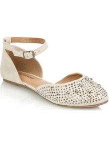 Taupe Quellette Studded Pumps - predominant colour: white; occasions: casual, evening, work, holiday; material: faux leather; heel height: flat; embellishment: studs; ankle detail: ankle strap; toe: round toe; style: ballerinas / pumps; finish: plain; pattern: plain