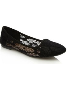 Black Ramya Lace Pumps - predominant colour: black; occasions: casual, evening, work; material: faux leather; heel height: flat; toe: round toe; style: ballerinas / pumps; finish: plain; pattern: plain; embellishment: lace