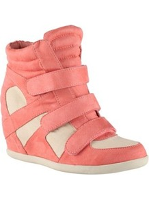 Coral Luxenee High Top Trainers - secondary colour: ivory; predominant colour: pink; occasions: casual; material: faux leather; heel height: high; embellishment: quilted; ankle detail: ankle strap; toe: round toe; style: trainers; trends: sporty redux; finish: plain; pattern: colourblock