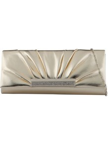 Light Gold Navarrete Clutch Bag - secondary colour: silver; predominant colour: champagne; occasions: evening, occasion; type of pattern: standard; style: clutch; length: hand carry; size: small; material: faux leather; embellishment: crystals; pattern: plain; trends: metallics; finish: metallic