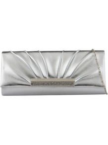 Silver Navarrete Clutch Bag - predominant colour: silver; secondary colour: gold; occasions: evening, occasion; type of pattern: standard; style: clutch; length: hand carry; size: small; material: faux leather; embellishment: crystals; pattern: plain; trends: metallics; finish: plain