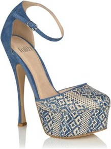 Blue Desire Platform Heel Shoes - secondary colour: ivory; predominant colour: diva blue; occasions: evening, occasion, holiday; material: faux leather; embellishment: embroidered; ankle detail: ankle strap; heel: platform; toe: round toe; style: courts; trends: statement prints, modern geometrics; finish: plain; pattern: patterned/print; heel height: very high