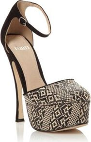 Black Desire Platform Heel Shoes - secondary colour: ivory; predominant colour: black; occasions: evening, occasion, holiday; material: fabric; ankle detail: ankle strap; heel: platform; toe: round toe; style: courts; trends: statement prints, modern geometrics; finish: plain; pattern: patterned/print; heel height: very high