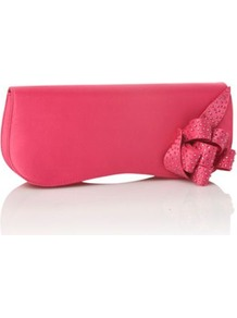 Pink Rhinestone Encrusted Ribbon Clutch Bag - predominant colour: hot pink; occasions: evening, occasion, holiday; type of pattern: standard; style: clutch; length: hand carry; size: small; material: fabric; embellishment: ribbon; pattern: plain; trends: metallics; finish: plain