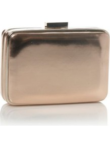 Rose Padded Faux Leather Clutch Bag - occasions: evening, occasion; type of pattern: standard; style: clutch; length: hand carry; size: small; material: faux leather; pattern: plain; trends: metallics; finish: metallic; predominant colour: dusky pink