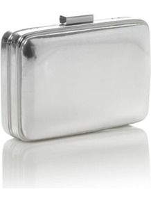 Silver Padded Faux Leather Clutch Bag - predominant colour: silver; occasions: evening, occasion; type of pattern: standard; style: clutch; length: hand carry; size: small; material: faux leather; pattern: plain; trends: metallics; finish: metallic