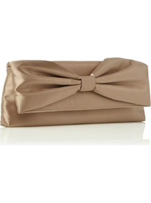 Mocha Gathered Bow Clutch Bag - predominant colour: taupe; occasions: evening, occasion; type of pattern: standard; style: clutch; length: hand carry; size: standard; material: satin; pattern: plain; finish: plain; embellishment: bow