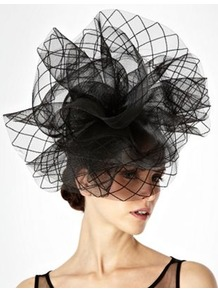 Black Grid Patterned Ruffled Fascinator - predominant colour: black; occasions: evening, occasion; type of pattern: standard; style: fascinator; size: large; material: fabric; pattern: plain