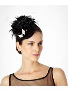 Black Feathered Flower Disc Hair Band - predominant colour: black; occasions: evening, occasion; type of pattern: standard; style: fascinator; size: standard; material: sinamay; embellishment: feather; pattern: plain