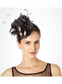 Grey Feathered Flower Disc Hair Band - secondary colour: blush; predominant colour: charcoal; occasions: evening, occasion; type of pattern: small; style: fascinator; size: standard; material: sinamay; embellishment: feather; pattern: plain