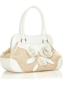 Designer White Rose Corsage Shoulder Bag - predominant colour: white; secondary colour: stone; occasions: casual, evening, work; type of pattern: large; style: shoulder; length: handle; size: standard; material: faux leather; finish: plain; pattern: colourblock; embellishment: corsage
