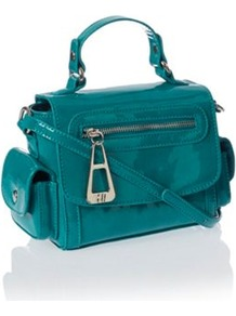 Designer Turquoise Mini Pocket Cross Body Bag - predominant colour: turquoise; secondary colour: silver; occasions: casual, evening, work, occasion, holiday; type of pattern: standard; style: shoulder; length: across body/long; size: small; material: faux leather; embellishment: zips; pattern: plain; finish: patent