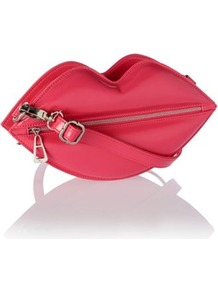 Designer Pink Lips Zip Front Clutch Bag - predominant colour: true red; occasions: evening, occasion, holiday; type of pattern: standard; style: clutch; length: hand carry; size: small; material: faux leather; embellishment: zips; pattern: plain; finish: plain