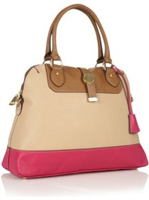 Designer Cream Colour Block Kettle Bag - predominant colour: stone; occasions: casual, work; type of pattern: light; style: tote; length: handle; size: standard; material: faux leather; finish: plain; pattern: colourblock; secondary colour: dusky pink