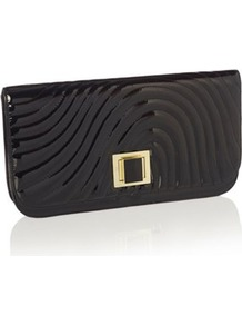 Designer Black Patent Wave Clutch Bag - secondary colour: gold; predominant colour: black; occasions: evening, occasion; type of pattern: standard; style: clutch; length: hand carry; size: standard; material: faux leather; embellishment: quilted; pattern: plain; finish: plain