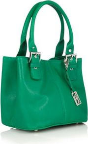 Designer Green Crosshatched Buckled Strapped Grab Bag - predominant colour: mint green; occasions: casual, evening, work; type of pattern: standard; style: tote; length: handle; size: standard; material: faux leather; pattern: plain; finish: plain