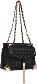 Black Quilted Shoulder Bag - secondary colour: gold; predominant colour: black; occasions: casual, evening, work; type of pattern: standard; style: shoulder; length: shoulder (tucks under arm); size: standard; material: faux leather; embellishment: quilted; pattern: plain; finish: plain
