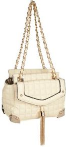 Cream Quilted Woven Chain Shoulder Bag - predominant colour: ivory; secondary colour: gold; occasions: casual, evening, work, occasion, holiday; type of pattern: standard; style: shoulder; length: shoulder (tucks under arm); size: standard; material: faux leather; embellishment: tassels; pattern: plain; trends: metallics; finish: plain