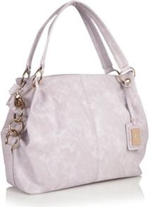 Lilac Ringed Handled Hobo Bag - predominant colour: lilac; secondary colour: light grey; occasions: casual, evening, work, holiday; type of pattern: standard; style: tote; length: handle; size: standard; material: faux leather; embellishment: tassels; pattern: plain; finish: plain