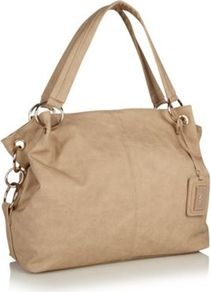Beige Ringed Handled Hobo Bag - predominant colour: taupe; occasions: casual, work; type of pattern: standard; style: shoulder; length: shoulder (tucks under arm); size: standard; material: faux leather; pattern: plain; finish: plain