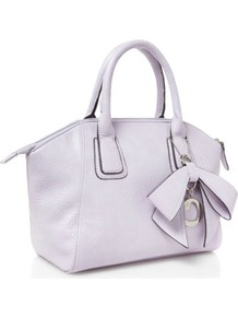 Lilac Bow Charm Grab Bag - predominant colour: white; occasions: casual, evening, work; type of pattern: standard; style: tote; length: handle; size: standard; material: faux leather; pattern: plain; finish: plain; embellishment: bow