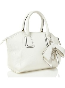 White Bow Charm Grab Bag - predominant colour: white; occasions: casual, evening, work, occasion, holiday; type of pattern: standard; style: grab bag; length: handle; size: standard; material: faux leather; pattern: plain; finish: plain; embellishment: bow