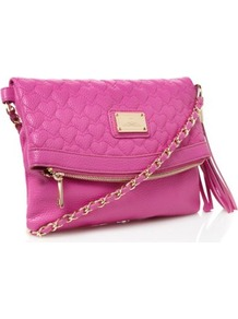Pink Heart Quilted Cross Body Bag - predominant colour: hot pink; occasions: casual, evening, work, holiday; type of pattern: standard; style: clutch; length: across body/long; size: standard; material: faux leather; embellishment: quilted; pattern: plain; finish: plain