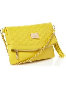 Yellow Heart Quilted Cross Body Bag - predominant colour: yellow; occasions: casual, evening, holiday; type of pattern: standard; style: clutch; length: across body/long; size: standard; material: faux leather; embellishment: quilted; pattern: plain; trends: fluorescent; finish: plain