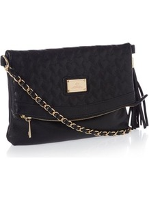 Black Heart Quilted Cross Body Bag - predominant colour: black; occasions: casual, evening, work; type of pattern: standard; style: shoulder; length: across body/long; size: standard; material: faux leather; embellishment: quilted; pattern: plain; finish: plain