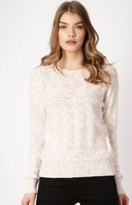 Light Pink Textured Jumper - style: standard; predominant colour: blush; occasions: casual, work; length: standard; fibres: cotton - mix; fit: standard fit; neckline: crew; sleeve length: long sleeve; sleeve style: standard; texture group: knits/crochet; pattern type: knitted - other