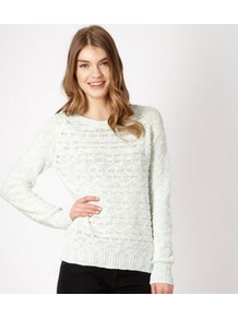 Pale Green Textured Jumper - neckline: round neck; style: standard; predominant colour: pistachio; occasions: casual, work; length: standard; fibres: cotton - mix; fit: standard fit; sleeve length: long sleeve; sleeve style: standard; texture group: knits/crochet; pattern type: knitted - other