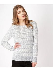 Blue Textured Jumper - pattern: plain; style: standard; predominant colour: light grey; occasions: casual, work; length: standard; fibres: cotton - mix; fit: standard fit; neckline: crew; sleeve length: long sleeve; sleeve style: standard; texture group: knits/crochet; pattern type: knitted - other; pattern size: standard