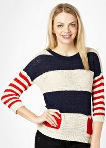 Nude Stripe Pattern Knitted Jumper - neckline: round neck; pattern: horizontal stripes, colourblock; style: standard; shoulder detail: contrast pattern/fabric at shoulder; predominant colour: white; occasions: casual, work; length: standard; fibres: acrylic - 100%; fit: standard fit; waist detail: front pockets at waist level; bust detail: contrast pattern/fabric/detail at bust; sleeve length: 3/4 length; sleeve style: standard; texture group: knits/crochet; trends: striking stripes; pattern type: knitted - other; pattern size: big &amp; light