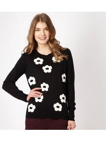 Black Daisy Intarsia Jumper - neckline: round neck; style: standard; back detail: contrast pattern/fabric at back; predominant colour: black; occasions: casual; length: standard; fibres: cotton - mix; fit: standard fit; bust detail: contrast pattern/fabric/detail at bust; sleeve length: long sleeve; sleeve style: standard; texture group: knits/crochet; trends: high impact florals; pattern type: knitted - fine stitch; pattern size: big &amp; light; pattern: florals, patterned/print