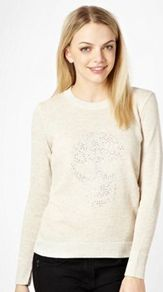 Beige Studded Skull Knitted Jumper - bust detail: added detail/embellishment at bust; style: standard; predominant colour: ivory; occasions: casual; length: standard; fibres: acrylic - mix; fit: standard fit; neckline: crew; sleeve length: long sleeve; sleeve style: standard; texture group: knits/crochet; pattern type: knitted - fine stitch; pattern size: small &amp; light; embellishment: beading