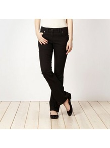 Black Bootcut Jeans - style: bootcut; length: standard; pattern: plain; pocket detail: traditional 5 pocket; waist: mid/regular rise; predominant colour: black; occasions: casual; fibres: cotton - mix; jeans detail: dark wash; texture group: denim; pattern type: fabric