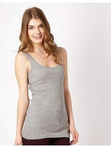 Grey Jersey Vest - sleeve style: standard vest straps/shoulder straps; pattern: plain; waist detail: fitted waist; style: vest top; predominant colour: light grey; occasions: casual; length: standard; neckline: scoop; fibres: cotton - mix; fit: body skimming; sleeve length: sleeveless; texture group: jersey - clingy; pattern type: fabric