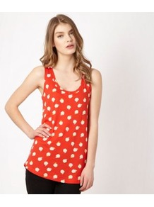 Red Apple Patterned Vest - sleeve style: sleeveless; length: below the bottom; style: vest top; secondary colour: ivory; predominant colour: bright orange; occasions: casual, holiday; neckline: scoop; fibres: cotton - mix; fit: body skimming; back detail: longer hem at back than at front; sleeve length: sleeveless; texture group: cotton feel fabrics; pattern type: fabric; pattern size: standard; pattern: patterned/print