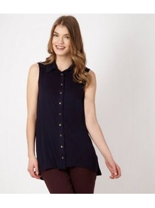 Navy Jersey Dipped Hem Shirt - neckline: shirt collar/peter pan/zip with opening; pattern: plain; sleeve style: sleeveless; length: below the bottom; style: shirt; predominant colour: black; occasions: casual, evening, work; fibres: viscose/rayon - 100%; fit: loose; back detail: longer hem at back than at front; sleeve length: sleeveless; pattern type: fabric; texture group: jersey - stretchy/drapey