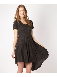 Dark Grey Dipped Hem Jersey Tunic - length: mid thigh; fit: loose; pattern: plain; waist detail: twist front waist detail/nipped in at waist on one side/soft pleats/draping/ruching/gathering waist detail; predominant colour: charcoal; occasions: casual, evening; style: asymmetric (hem); neckline: scoop; fibres: polyester/polyamide - mix; hip detail: soft pleats at hip/draping at hip/flared at hip; back detail: longer hem at back than at front; sleeve length: short sleeve; sleeve style: standard; pattern type: fabric; texture group: jersey - stretchy/drapey