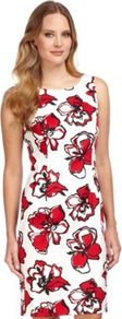 Graphic Floral Shift Dress - style: shift; neckline: round neck; fit: tailored/fitted; sleeve style: sleeveless; predominant colour: white; occasions: casual, evening, occasion; length: just above the knee; fibres: cotton - stretch; sleeve length: sleeveless; texture group: structured shiny - satin/tafetta/silk etc.; trends: high impact florals, glamorous day shifts; pattern type: fabric; pattern size: big & busy; pattern: florals