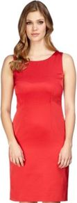 Red Shift Dress - style: shift; neckline: round neck; fit: tailored/fitted; pattern: plain; sleeve style: sleeveless; hip detail: fitted at hip; predominant colour: true red; occasions: evening, work, occasion; length: on the knee; fibres: polyester/polyamide - stretch; sleeve length: sleeveless; pattern type: fabric; texture group: other - light to midweight